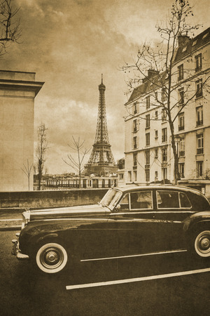 Vintage retro old styled paris sepia photography with eiffel tower