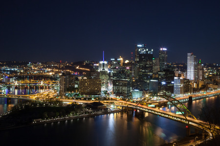 allegheny: Pittsburgh, Pennsylvania skyline at night overlooking the Allegheny Monongahela rivers.