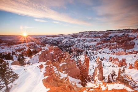 winter sunrise: Sunrise over Bryce Canyone National Park, Utah