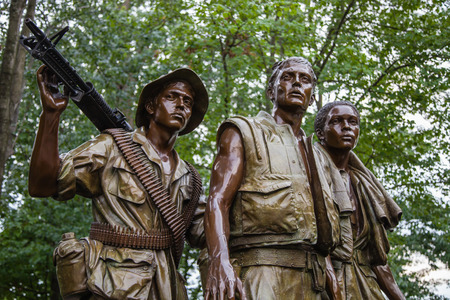 statue: Washington DC, United States of America - June 20, 2009: Close-up of The Three Soldiers statue by Frederick Hart. Located in the Vietnam Veterans Memorial in Washington DC