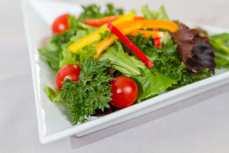 tomatos: Green salad with lettuce, peppers and tomatos