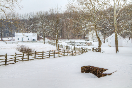 cottage fence: Hopewell Village National Historic Site in Chester County, Pennsylvania Stock Photo