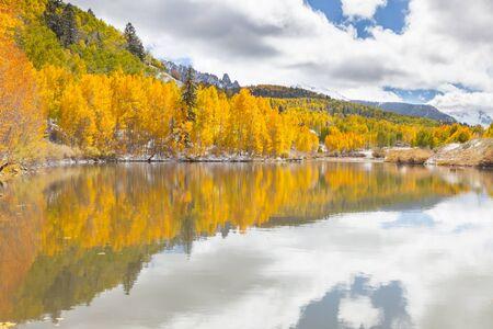 lost lake: Fall foliage on Cushman Lake in the San Juan Mountains of Colorado Stock Photo