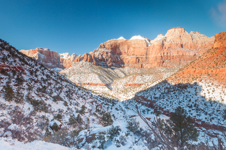 overlook: Zion National Park in winter from the Canyon Overlook Trail Stock Photo