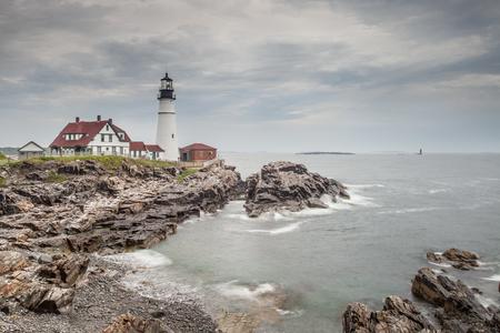 Portland Head Lighthouse in Portland, Maine 스톡 콘텐츠