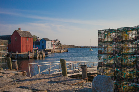 lobster boat: Rockport, is a quaint fishing village located along the northern coast of Massechusetts Stock Photo