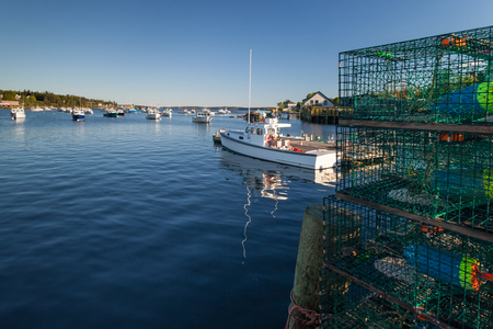 fishingboats: Lobster and fishingboats in Bass Harbor, Maine Stock Photo