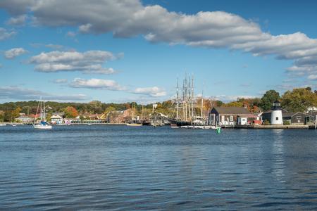 Harbor of Mystic Seaport, Connecticut Stock Photo