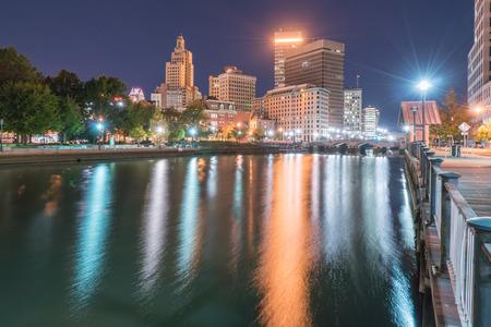 providence: Providence, Rhode Island City Skyline at night along the Providence river