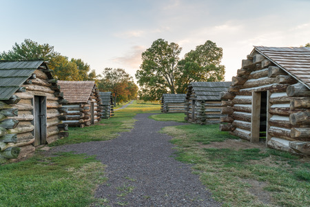 forge: Cabins at sunset  along the Muhlenberg Brigade in Valley Forge National Historic Park, Pennsylvania Stock Photo
