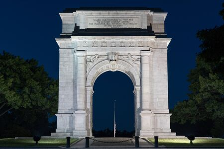 forge: The memorial Arch in Valley Forge National Park erected in 1910. Stock Photo