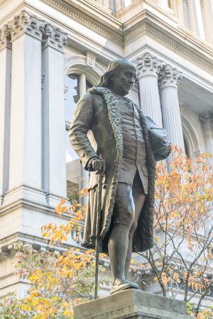 보스턴, 매사 추세 츠에서 건물 오래 된 시청 밖에 서 벤자민 프랭클린 동상