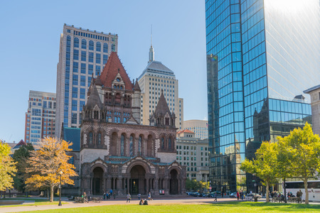back bay: Copley Square, Boston, MA - October 18, 2015: Copley Square, named for painter John Singleton Copley, is a public square in Bostons Back Bay neighborhood. Editorial