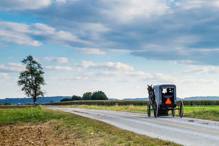 Amish carriage along a country road in Lancaster, Pennsylvania