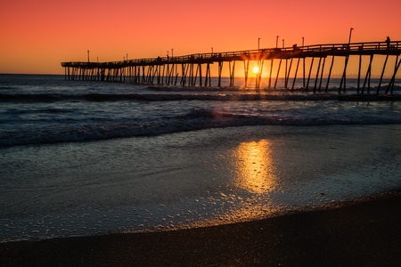 outer banks: The Kitty Hawk Pier along the Outer Banks of North Carolina