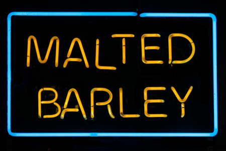malted: Malted Barley Neon Sign Stock Photo