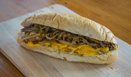 Philly CHeesesteak with Cheese and Fried Onions Banco de Imagens - 52496124