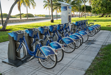 Miami Beach, Florida, USA - October, 3, 2015: Citi Bike station along Miami Beach, Florida, USA. The Citi Bike program is operated by DECOBIKE LLC and is Miami's bike sharing and rental system. The Citi Bike program is intended to provide locals and visit Redakční