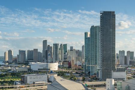 miami florida: Miami, Florida city skyline looking south.