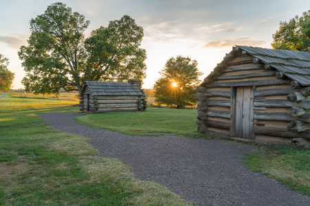 Cabins at sunset along the Muhlenberg Brigade in Valley Forge National Historic Park, Pennsylvania