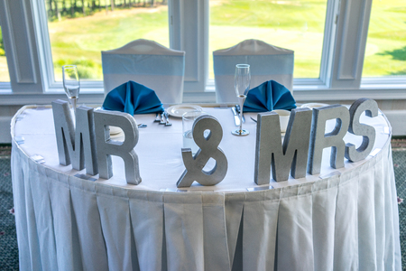 mr and mrs: Wedding head table setting with Mr & Mrs letters. Stock Photo
