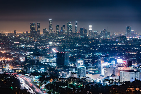 hollywood hills: Los Angeles Night Skyline from the Hollywood Hills