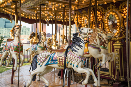 play the old park: Horses on an old, vintage merry go round