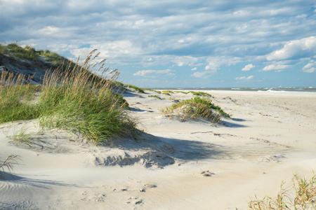 외부 은행 모래 언덕과 잔디 노스 캐롤라이나의 해안을 따라 스톡 콘텐츠
