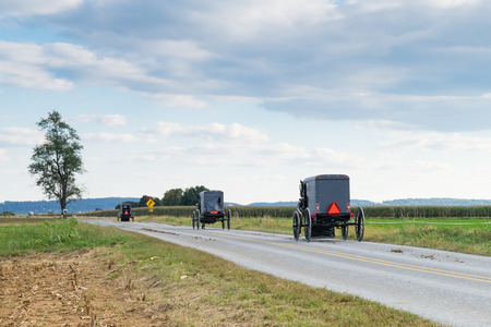 Three amish carriages along a rural road in Lancaster County, Pennsylvania