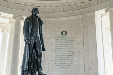 jefferson: Statue of Thomas Jefferson with inscription from the Declaration of Independence inside the Jefferson Memorial in Washington DC