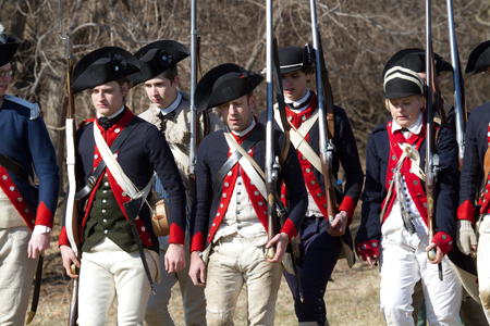 VALLEY FORGE, PA - FEBRUARY 2012: Revolutionary War soldiers during a reenactment in Valley Forge National Historic Park 에디토리얼