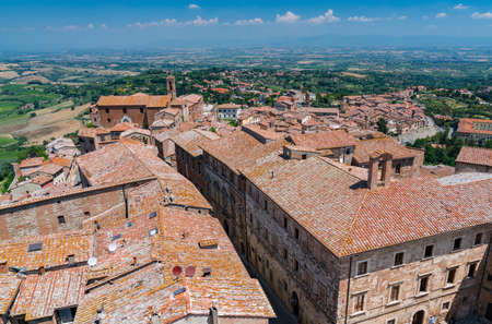 montepulciano: The rooftops of Montepulciano, Italy in Tuscany Stock Photo