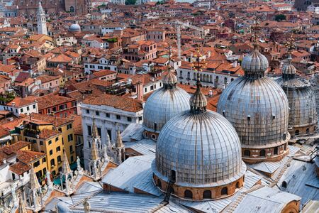 st mark: View of Venice from bell tower of St Marks cathedral Stock Photo