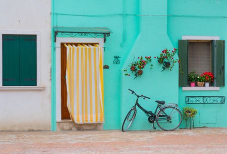 front house: Bicycle in front of house in Burano, Italy