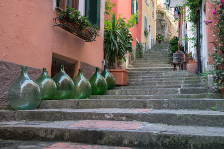 monterosso: Row of homes along an alley in Monterosso, Italy