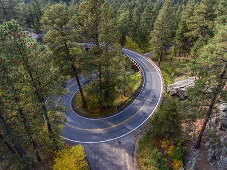 puente de cable flexible a lo largo de la carretera de agujas en las Black Hills de Dakota del Sur