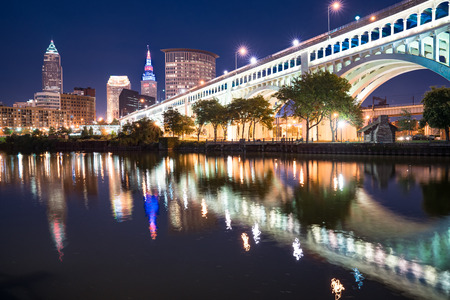 CLEVELAND - SEPTEMBER 16:  Cleveland city skyline and Detriot-Superior Bridge at night across the Cuyahoga river