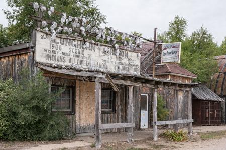 SCENIC, SOUTH DAKOTA - SEPTEMBER 21: Abandoned Longhorn Saloon in the ghost town of Scenic, South Dakota