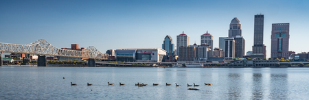 View of the Louisville, Kentucky city skyline from across the Ohio River Stock Photo