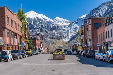 Looking up Colorado Avenue in Telluride, Colorado