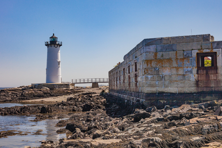 Portsmouth Harbor Lighthouse and the ruins of Fort Constitution in Portsmouth, New Hampshire