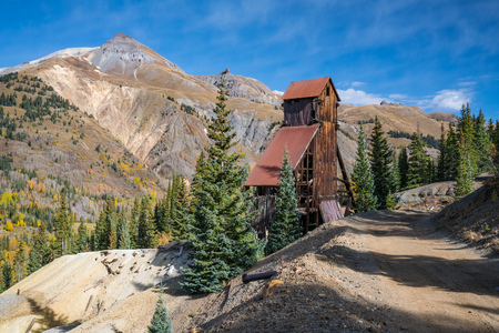 The abandoned Yankee Girl silver mine in the Red Mountain mining region of Colorado. Stock Photo
