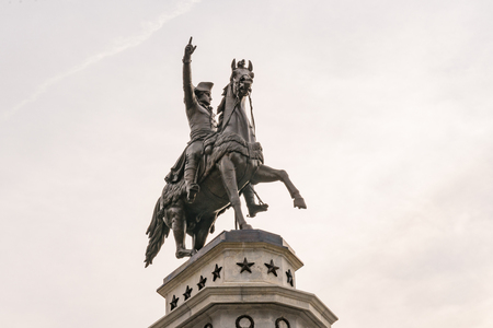 RICHMOND, VIRGINIA - MARCH 25: George Washington Monument on Capitol Square at the Virginia State Capitol on March 25, 2017 in Richmond, Virginia