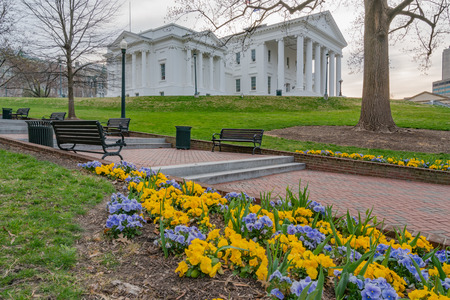Morning at the Virginia state capitol building in Richmond with flowers. Stock Photo