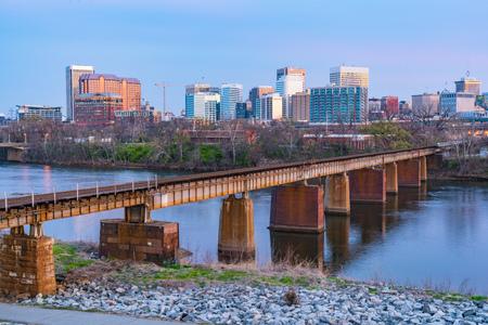 Richmond,Virginia night city skyline along the James River.