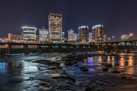Richmond,Virginia night city skyline along the James River. Reklamní fotografie