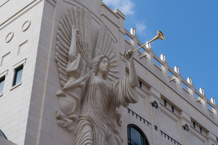 Trumpeting Angel sculpture on the facade of Bass Performance Hall in Fort Worth, TX on May 12, 2017
