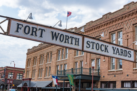 Entrance sign to  the cattle stockyards of Fort Worth, Texas on May 11, 2017.