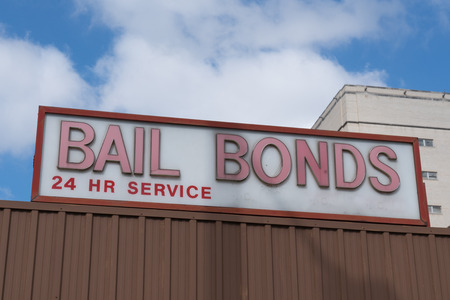 Bail Bonds sign on top of building Editorial