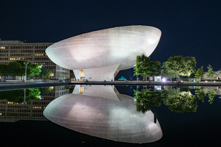 ALBANY, NY - JUNE 28:  The Egg performing arts center on the Empire State Plaza at Night on June 28, 2017 Sajtókép